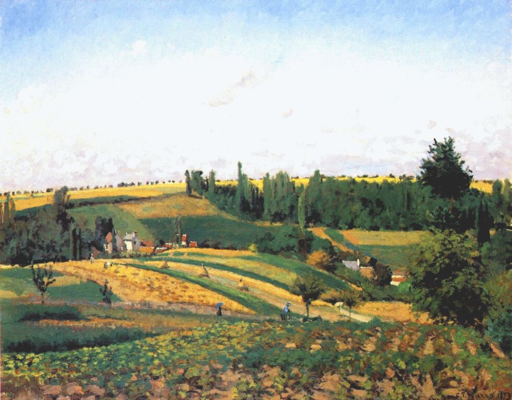 Камиль Писсарро. Пейзаж со сбором урожая в Понтуазе