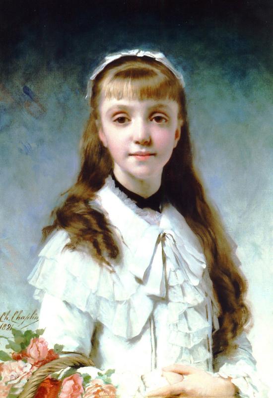 Чарльз Чаплин. Молодая девушка с букетом