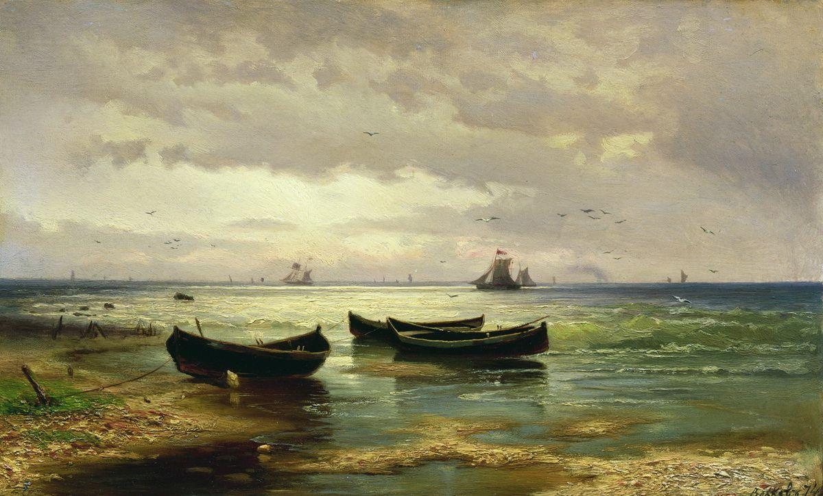 Efim Efimovich Volkov. Seaside. Fishing boats
