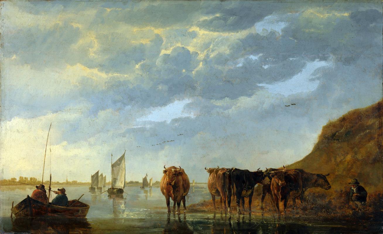 Альберт Кёйп. Пастух с пятью коровами у реки