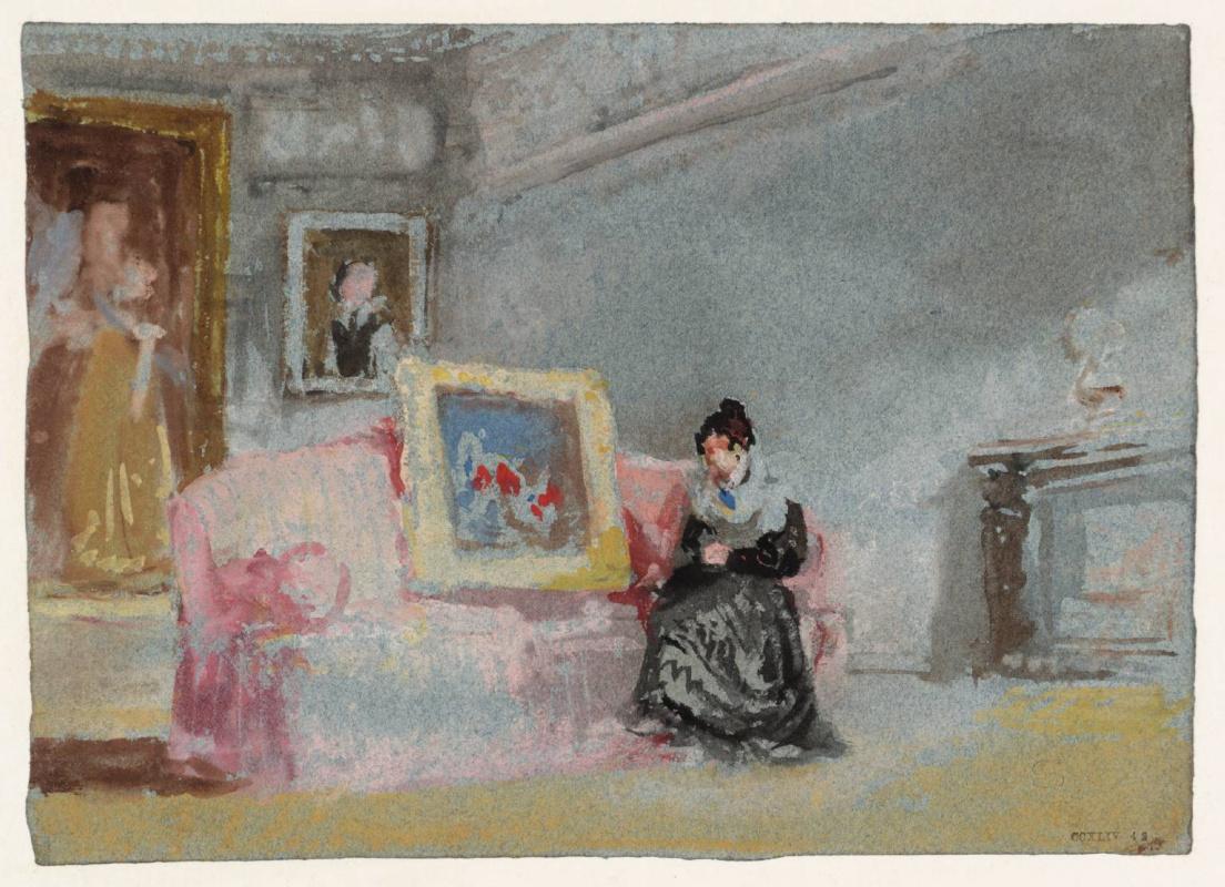 Джозеф Мэллорд Уильям Тёрнер. Дама в чёрном шёлковом платье, сидящая на розовом диване