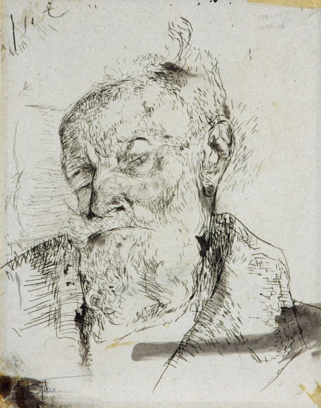 Charlotte Salomon. Portrait of a dying Ludwig Grunwald, grandfather of Charlotte Salomon