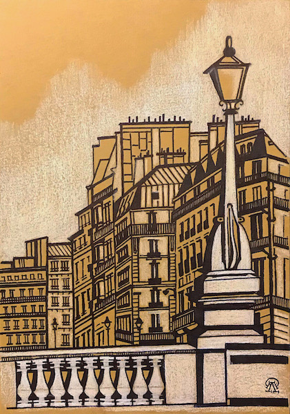 Larissa Lukaneva. Parisian lanterns. Sketch.