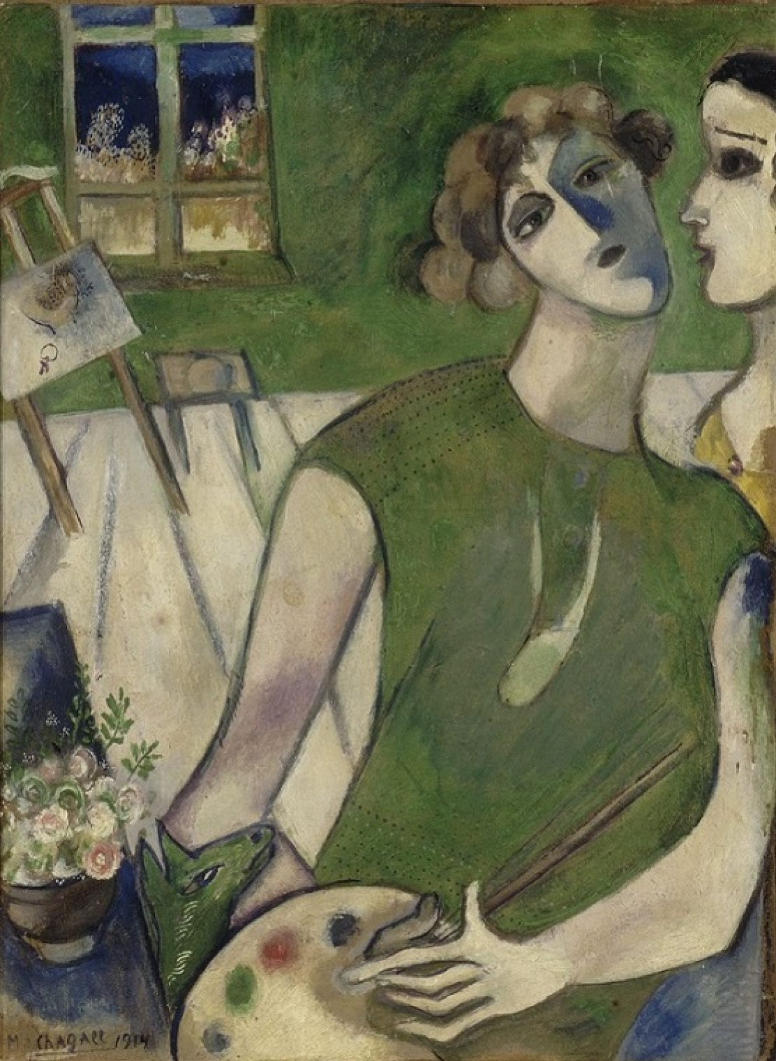 Marc Chagall. Self portrait on green