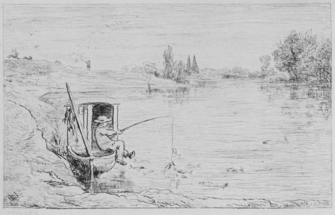 Charles-Francois Daubigny. The boy-boatman fishes