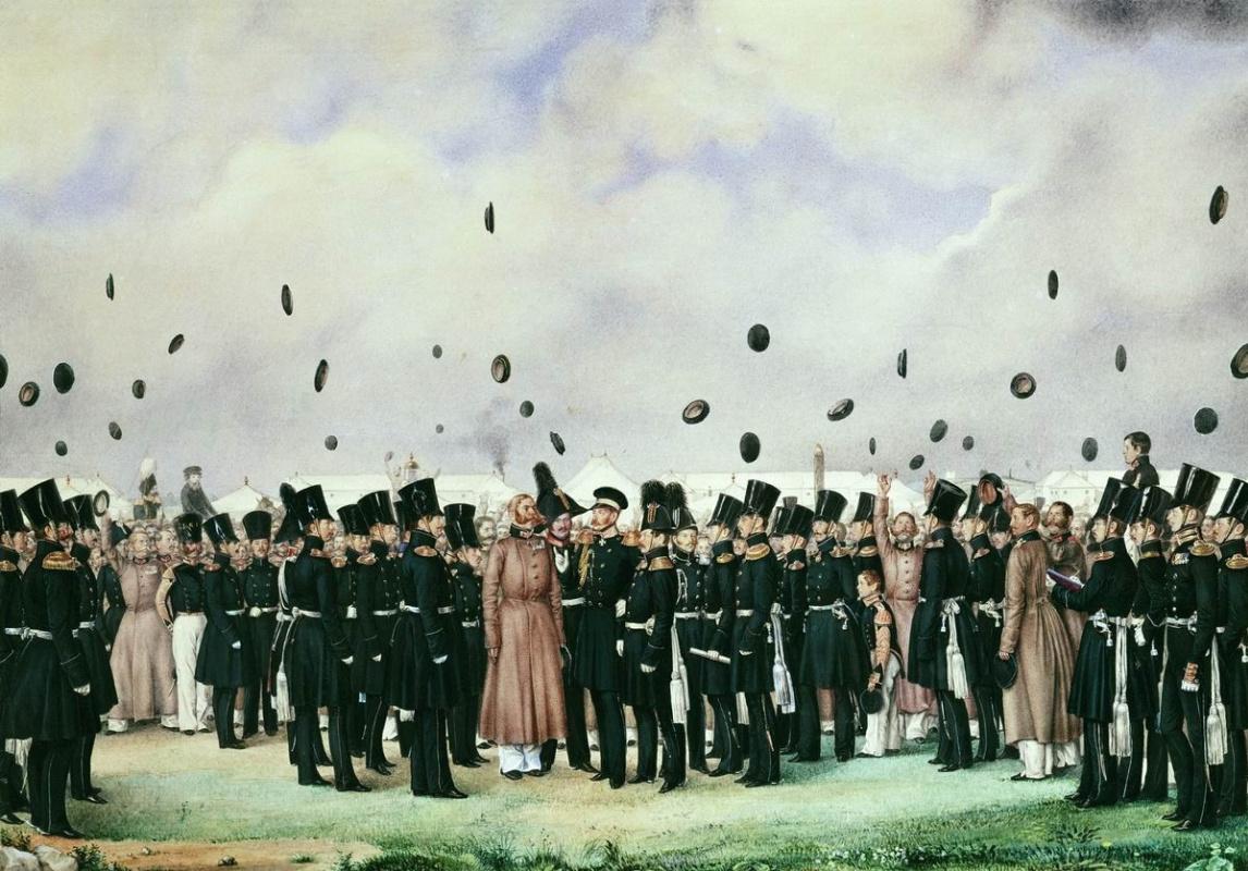 Павел Андреевич Федотов. Встреча в лагере лейб-гвардии Финляндского полка великого князя Михаила Павловича 8 июля 1837