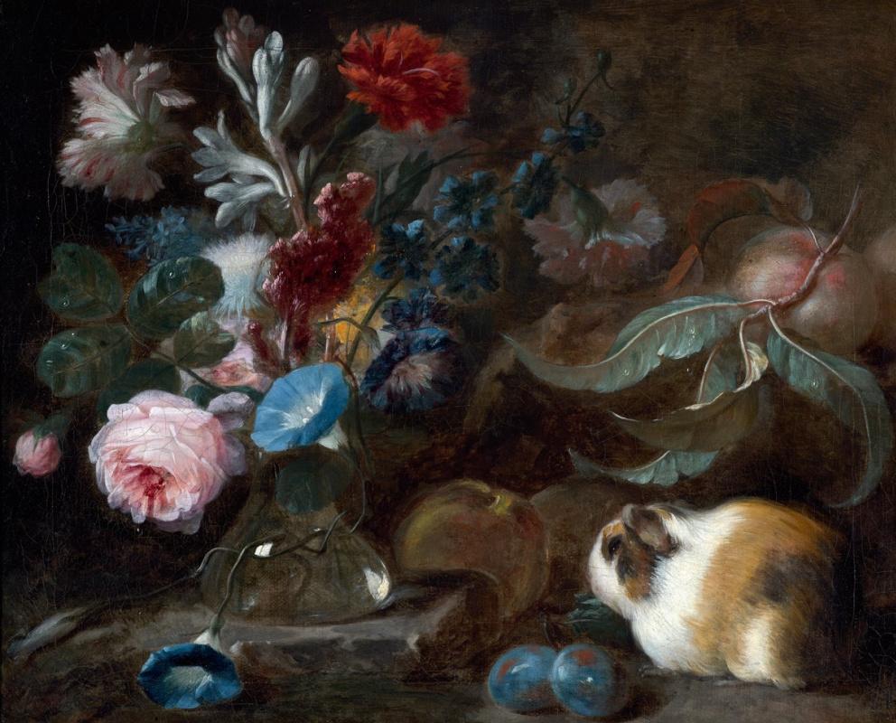 Франц Вернер фон Тамм. Натюрморт с морской свинкой, цветами и фруктами