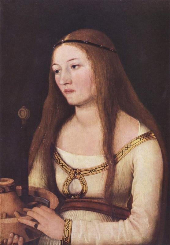 Ганс  Старший Хольбейн. Портрет Катарины Шварц с атрибутами её святой покровительницы