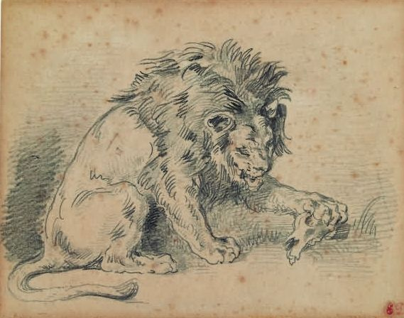 Eugene Delacroix. The lion and the gnawed skull of a Gazelle