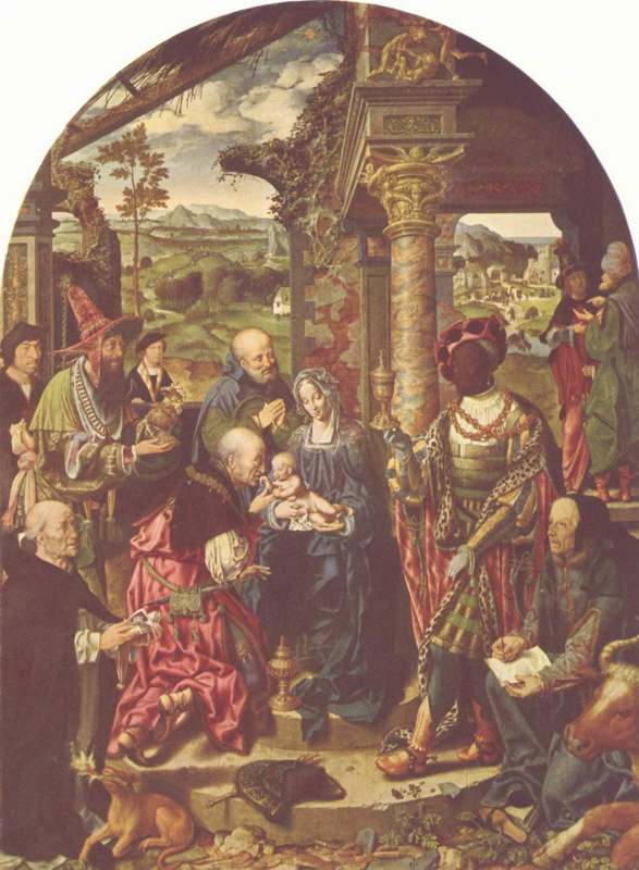 Joos van Cleve. A large adoration of the Magi with St. Dominic and St. Luke
