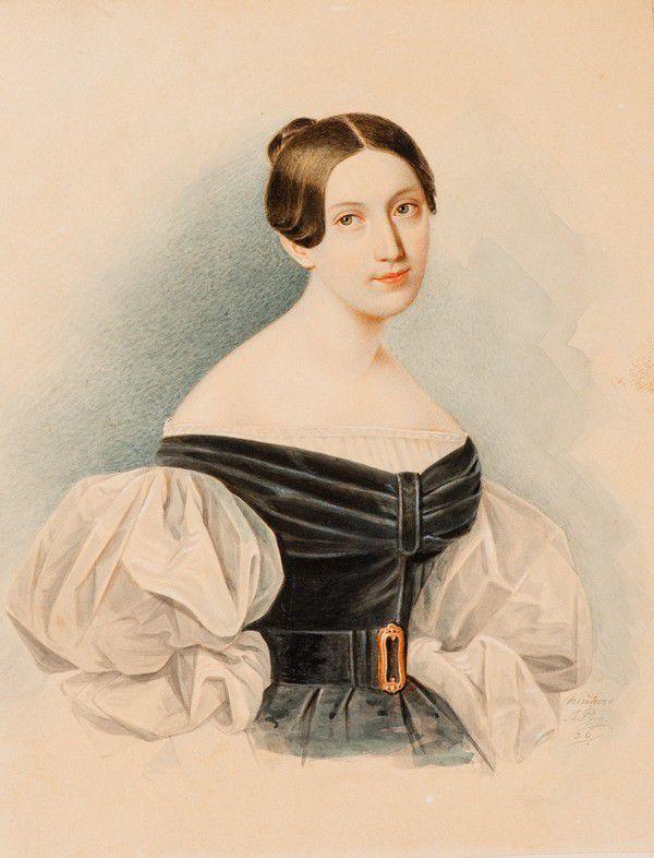 Портрет неизвестной в черном платье с белыми рукавами-буфами