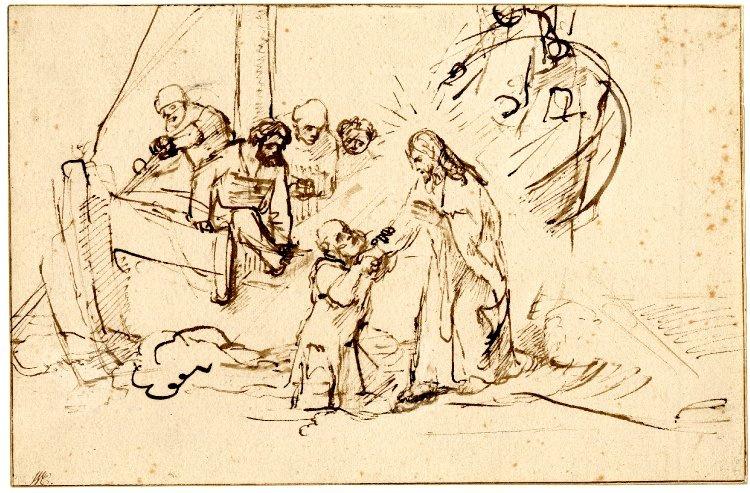 Rembrandt Harmenszoon van Rijn. Christ walking on the waves