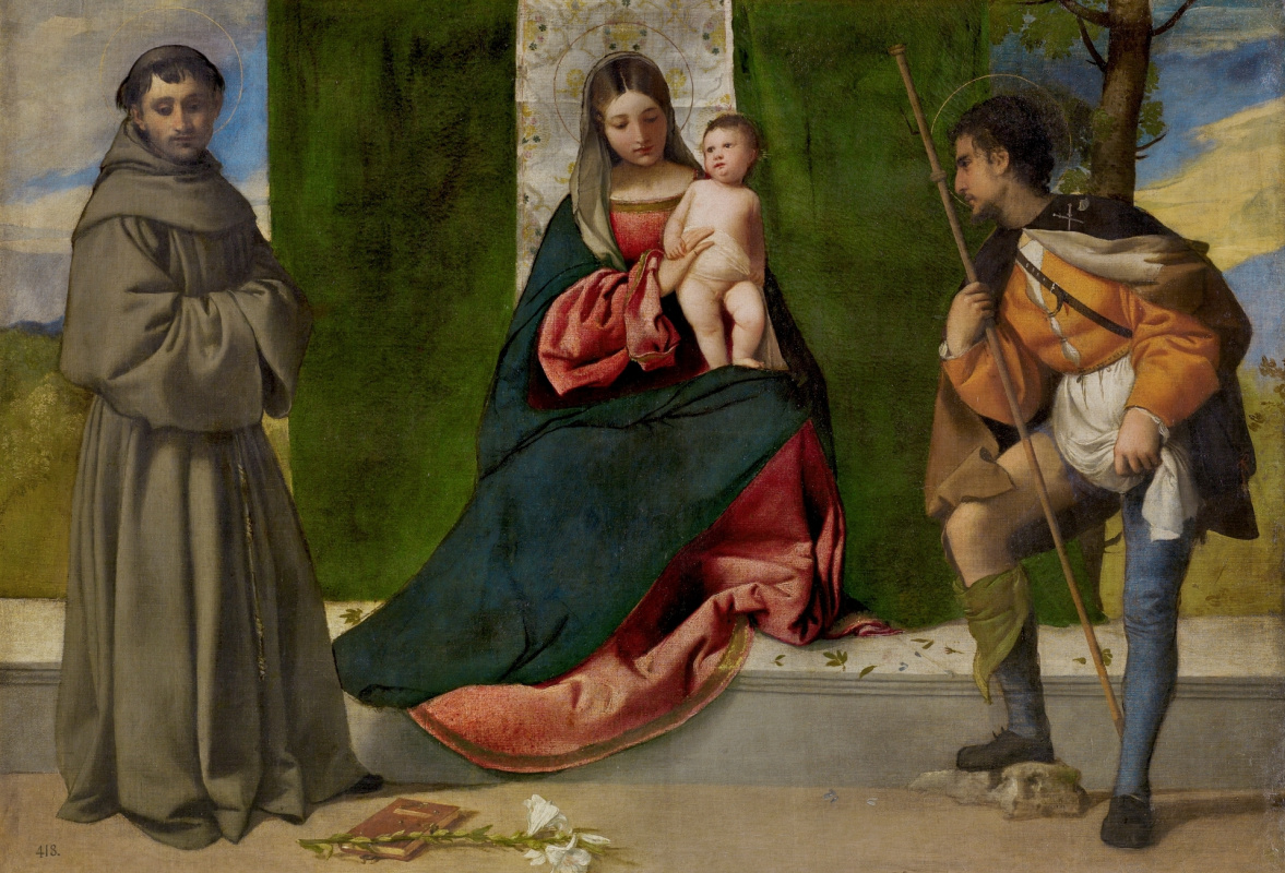 Titian Vecelli. The Virgin and Child between Saint Anthony of Padua and Saint Roch