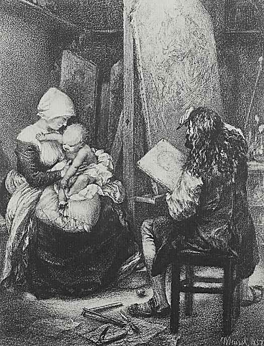 Адольф фон Менцель. Альбрехт Дюрер пишет в мастерской горожанку с ребенком как Мадонну
