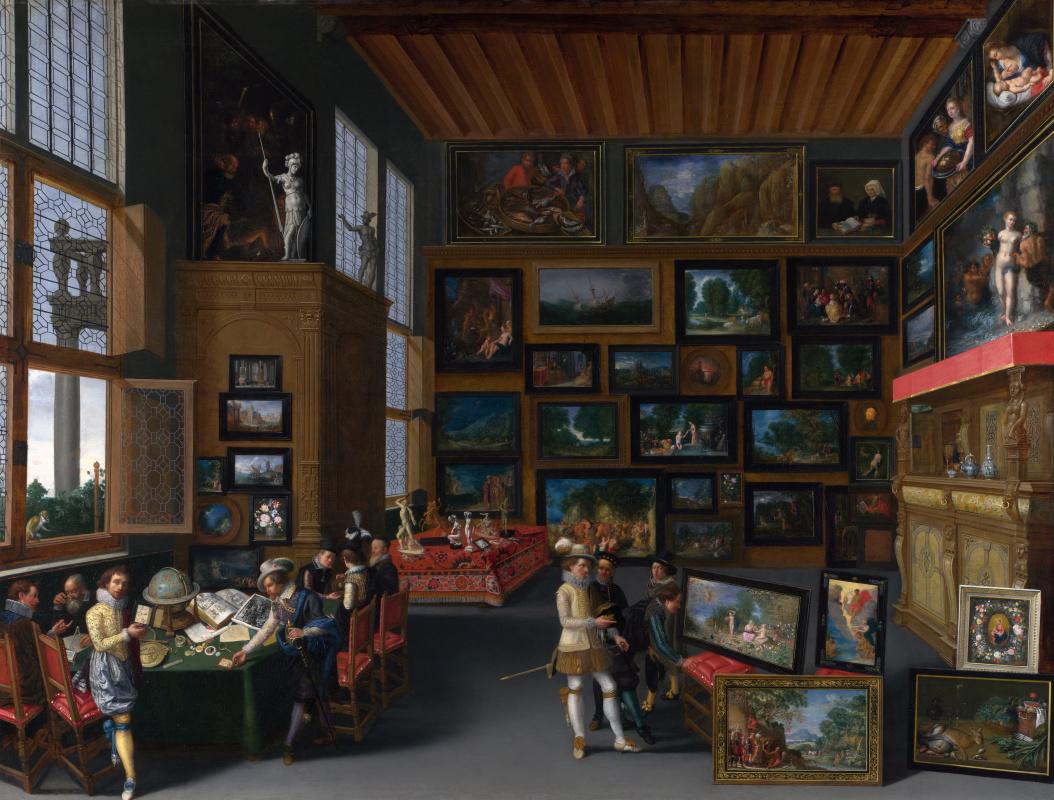 Неизвестный  художник. Ценители искусства в комнате, увешанной картинами