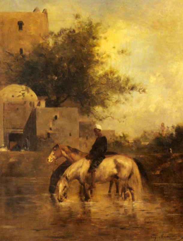 Эжен Фромантен. Лошади на водопое в реке