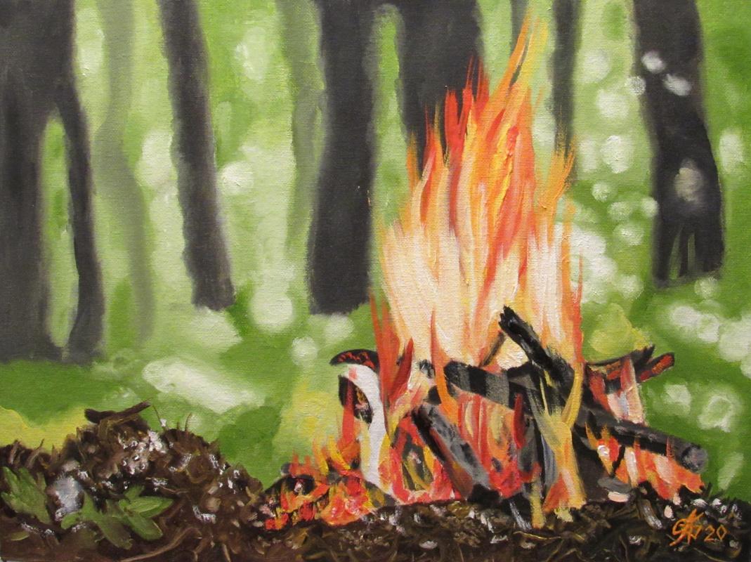Artashes Badalyan. Bonfire in the forest - x-hardboard-m - 30x40