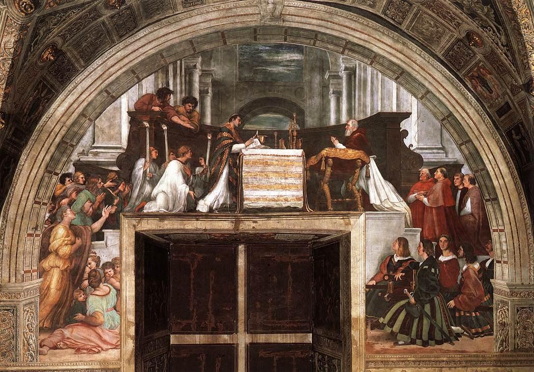 Рафаэль Санти. Месса в Больсене. Станца д'Элиодоро, фреска дворца понтифика в Ватикане