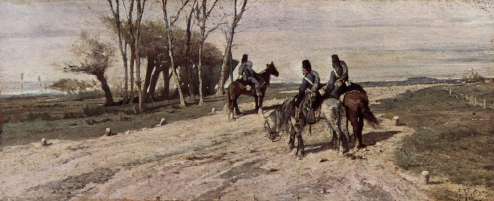 Джованни Фаттори. Три кавалериста на дороге