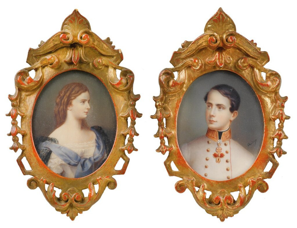 Unknown artist. Portrait miniatures of Emperor Franz Joseph and Elizabeth of Austria