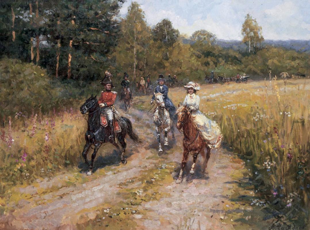 Aleksandr Chagadaev. On a horse ride