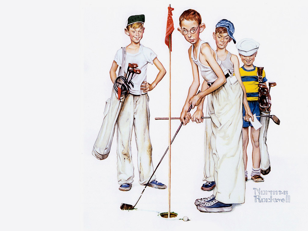 Norman Rockwell. Young golfers