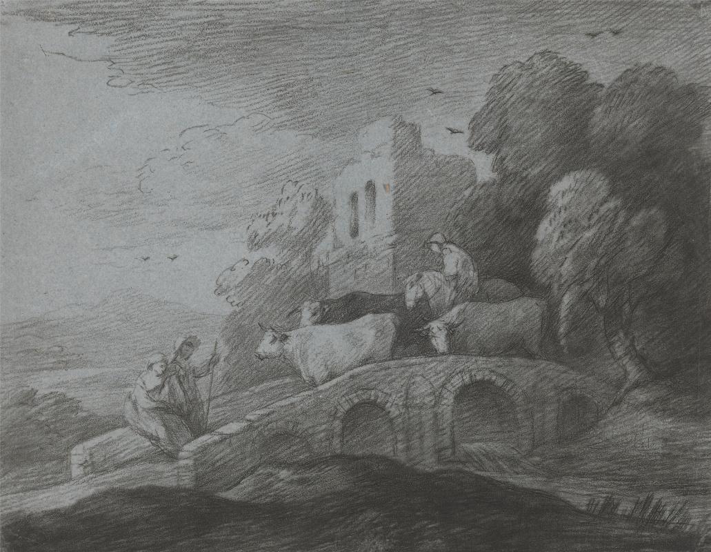 Томас Гейнсборо. Стадо и влюбленная пара на мосту возле разрушенного замка
