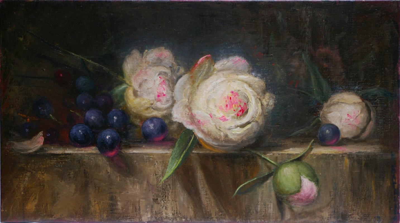Natalia Bagatskaya. Still life with Peonies and Grapes