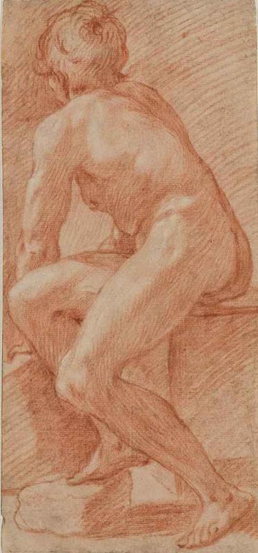 Джованни Бальоне (Баглионе). Сидящий обнаженный со спины