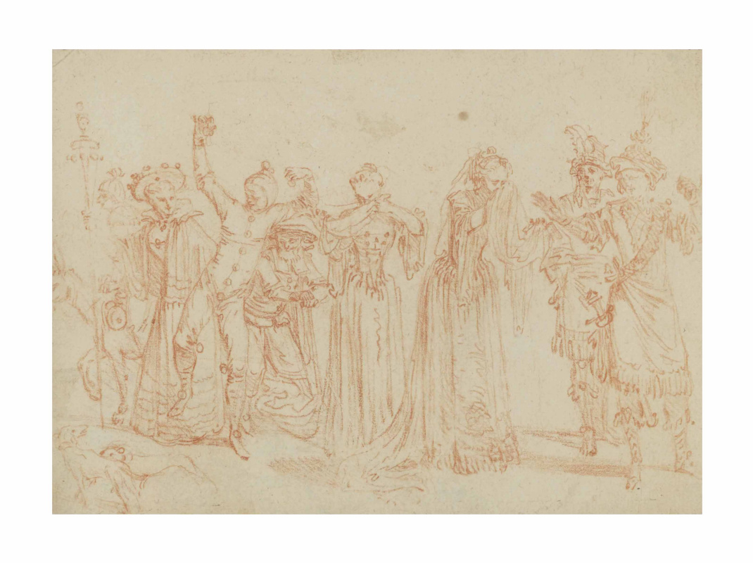 Antoine Watteau. Eight comedians, one of them riding a donkey, and two dogs