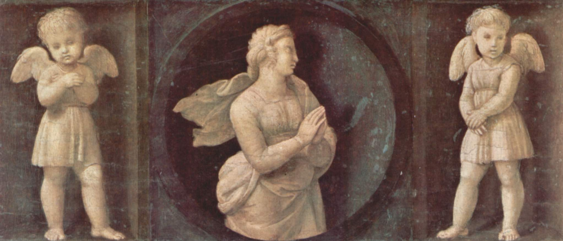 Raphael Sanzio. The altar of baloni, Central part, predella with images of the cardinal virtues. Faith and two angels