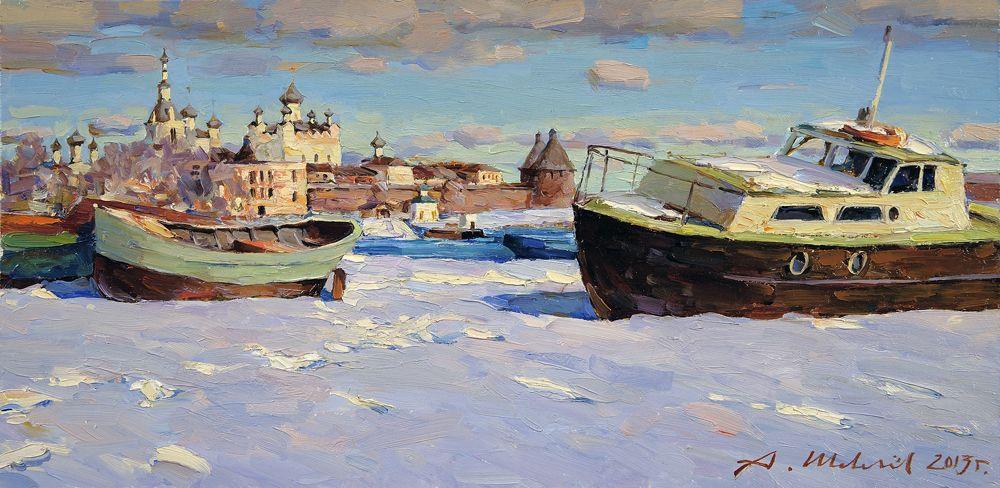 Alexander Shevelyov. Solovki.The end of winter.Oil on canvas 30 # 60,6 cm 2013