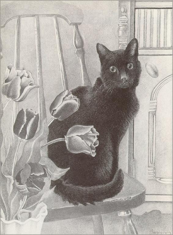Ставка Боргесон. Кот и тюльпаны