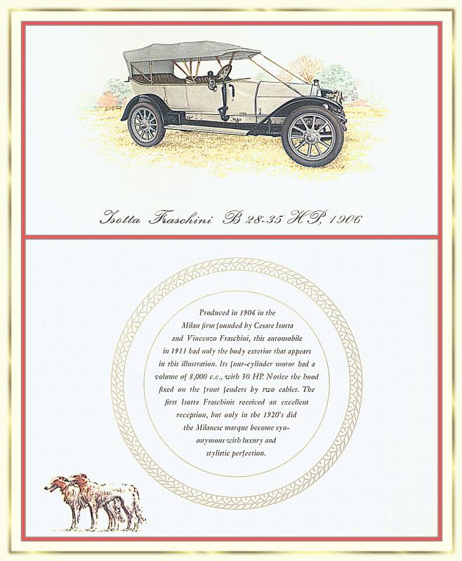 Лионель Моррис. Серия ретро-автомобили. 1906 Изотта-Франчини Б