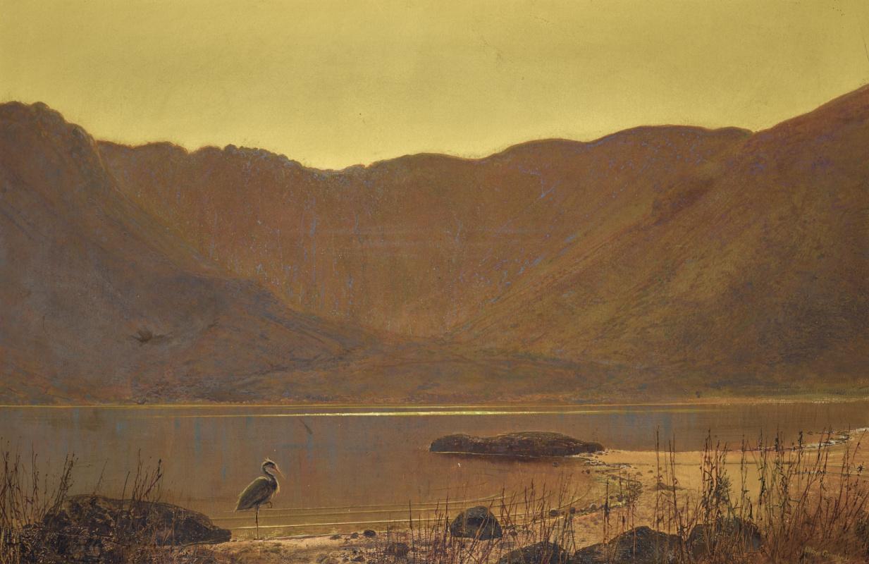 John Atkinson Grimshaw. Morning landscape with a hunting heron