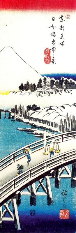 """Утагава Хиросигэ. Вид на мост Нихонбаси в снегу. Серия """"Известные места восточной столицы"""""""