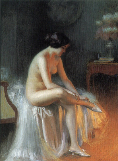 Dolphin Angolra. Nude by the fire