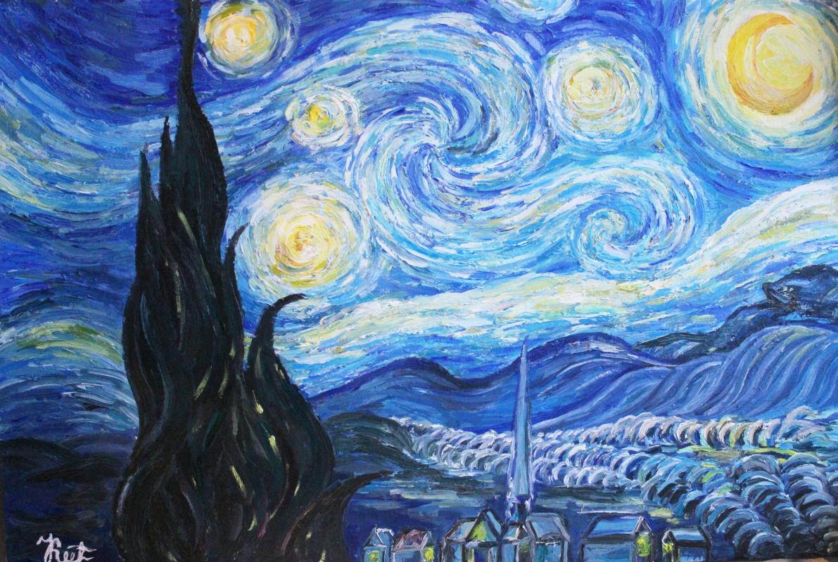"""Ксюша Алексеевна Квас. Дубликат картины Ван Гога """"Звездная ночь"""""""