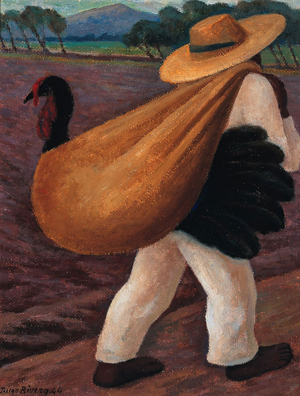 Diego Maria Rivera. Farmer with turkey