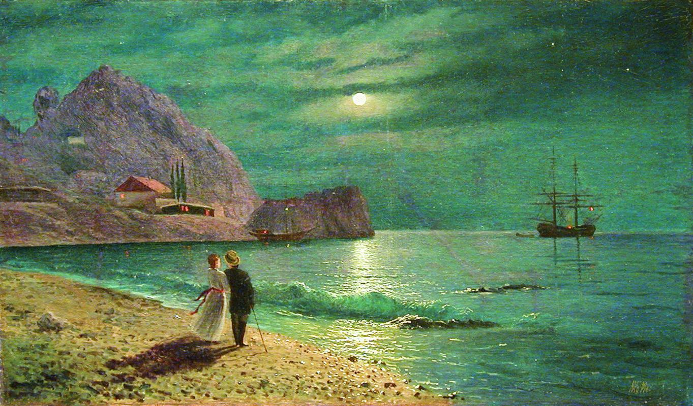 Lev Feliksovich Lagorio. Night in the Crimea. Coast