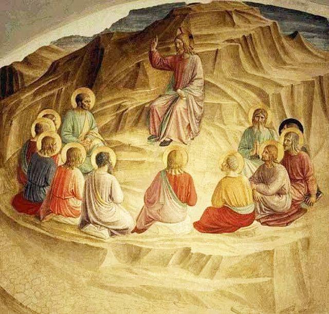 Фра Беато Анджелико. Христос и апостолы: Нагорная проповедь. Фреска монастыря Сан Марко, Флоренция