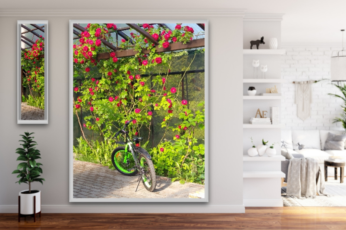 Natalya Garber. Bicycle in roses. Photoart for outdoors