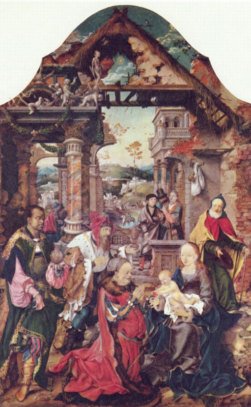 Joos van Cleve. The adoration of the Magi