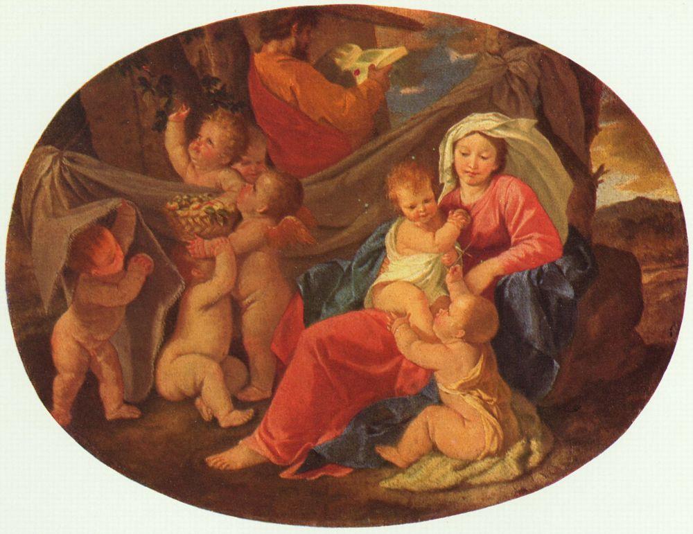 Никола Пуссен. Святое семейство с ангелом, овал