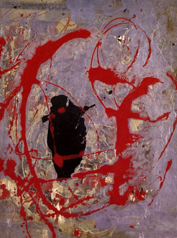 Jackson Pollock. Red, black and silver