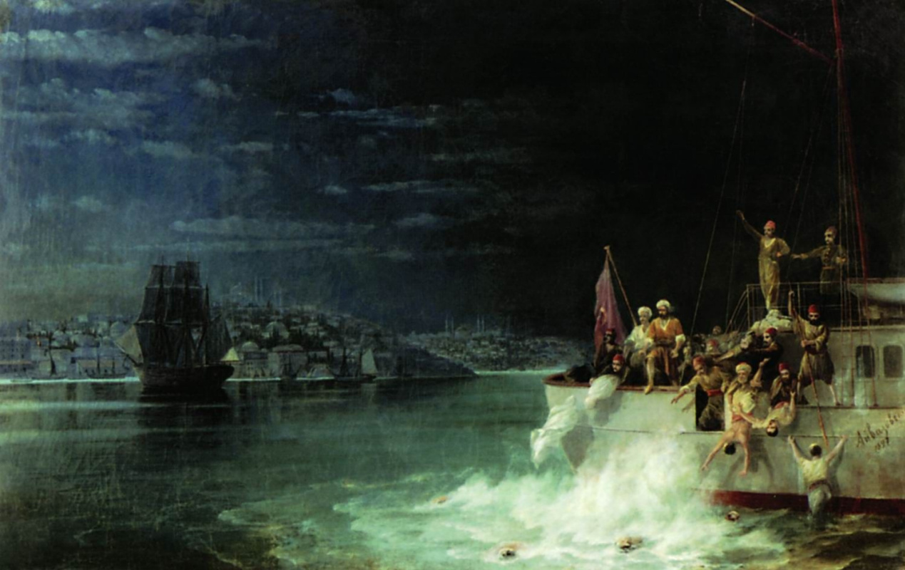 Ivan Aivazovsky. Night. Tragedy in the sea of Marmara
