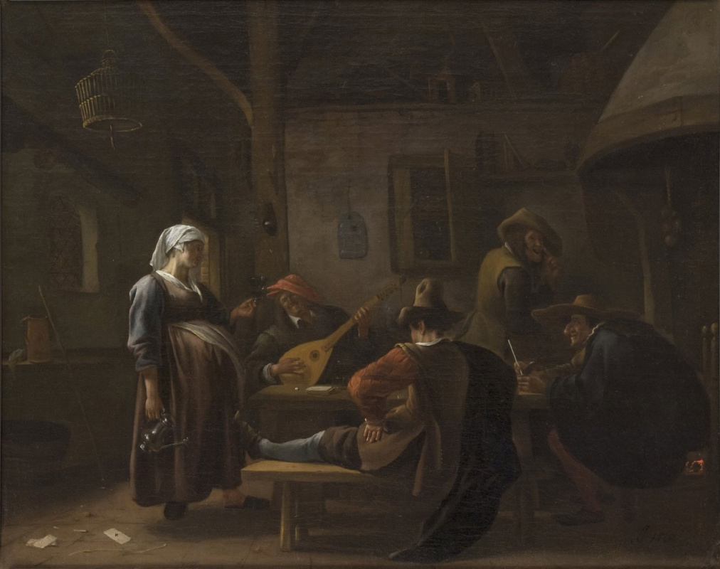Jan Steen. Scene in the tavern with a pregnant hostess