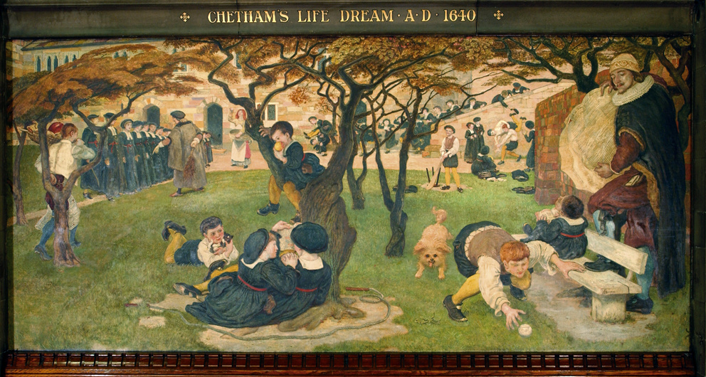 Ford Madox Brown. Humphrey dreams of Cetema (Cetinska charity school for poor children), 1640. The mural of the mural of the building of Manchester town hall