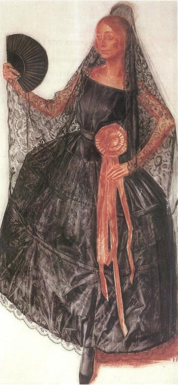 Александр Евгеньевич Яковлев. Танцовщица в испанском костюме (возможно Анна Павлова)