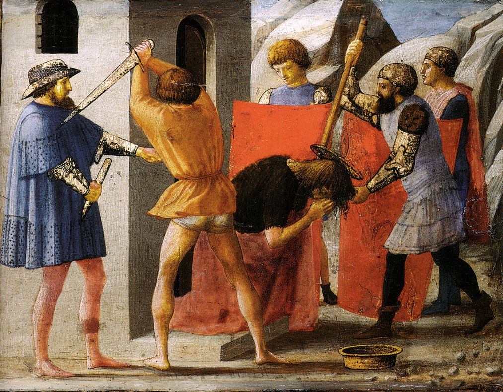 Tommaso Masaccio. Beheading of John the Baptist. Limit of the Pisa Triptych